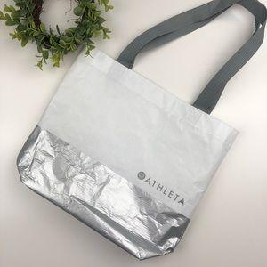 ATHLETA | Gray + White Reusable Tote Bag Free